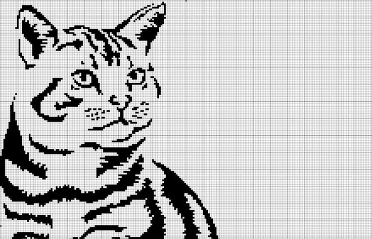 звёздный кот (монохромная вышивка крестом, схема)