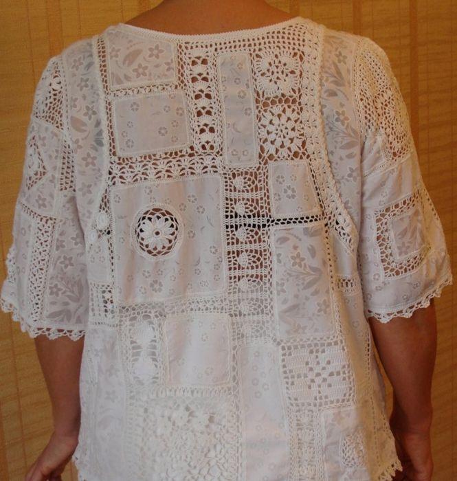 Летняя блуза спицами в стиле пэчворк